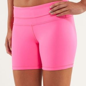 Lululemon Reverse Groove Shorts in Hot & Baby Pink